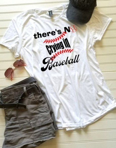 570e97ec Women's Baseball shirt, Ladies Baseball Tshirt, There's No Crying in Baseball  shirt