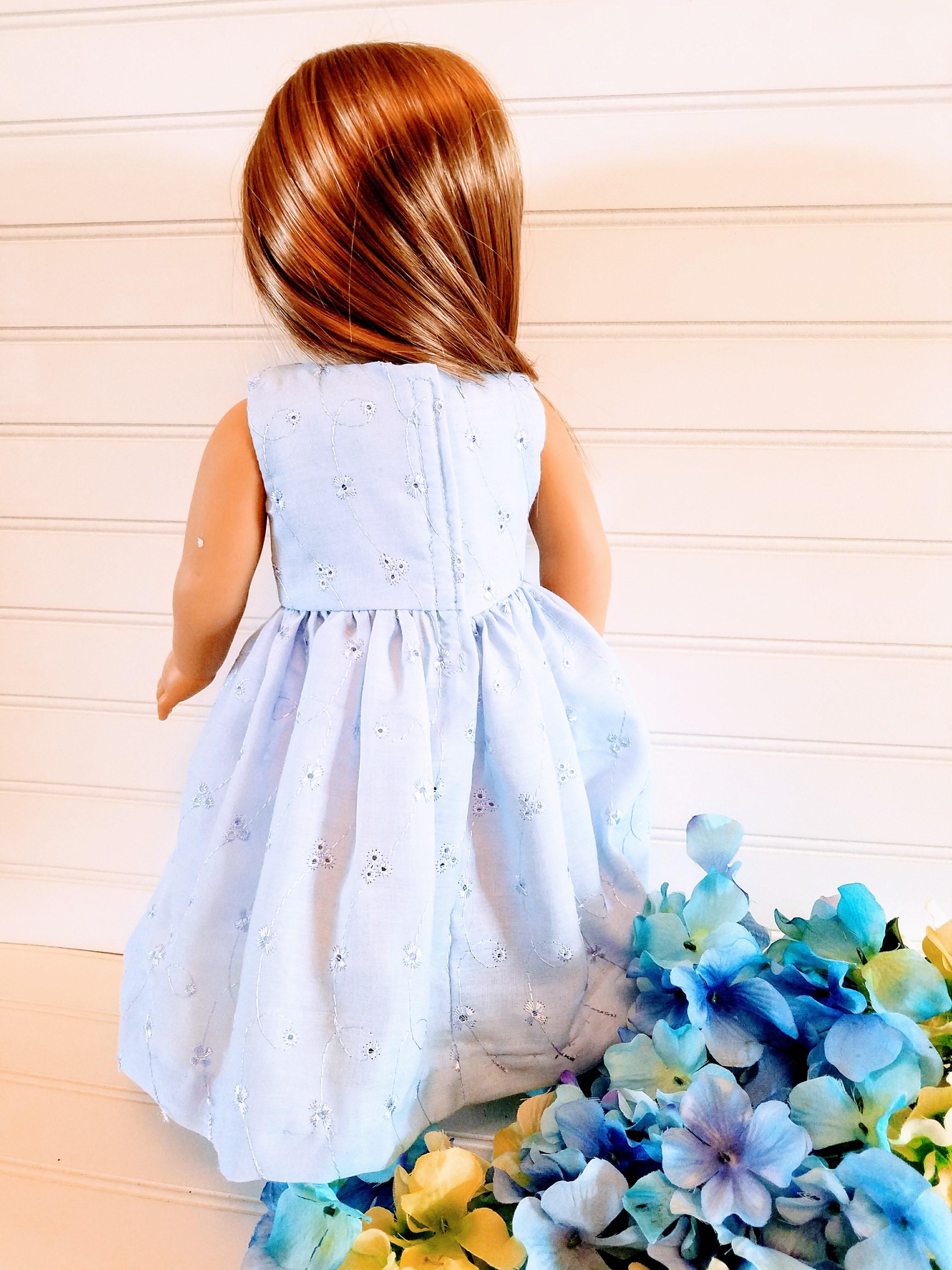 ee556ee1fd7 Blue Eyelet Doll Dress ...