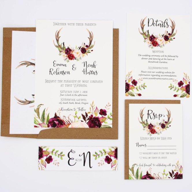 Antler Rustic Fall Wedding Invitation Suite
