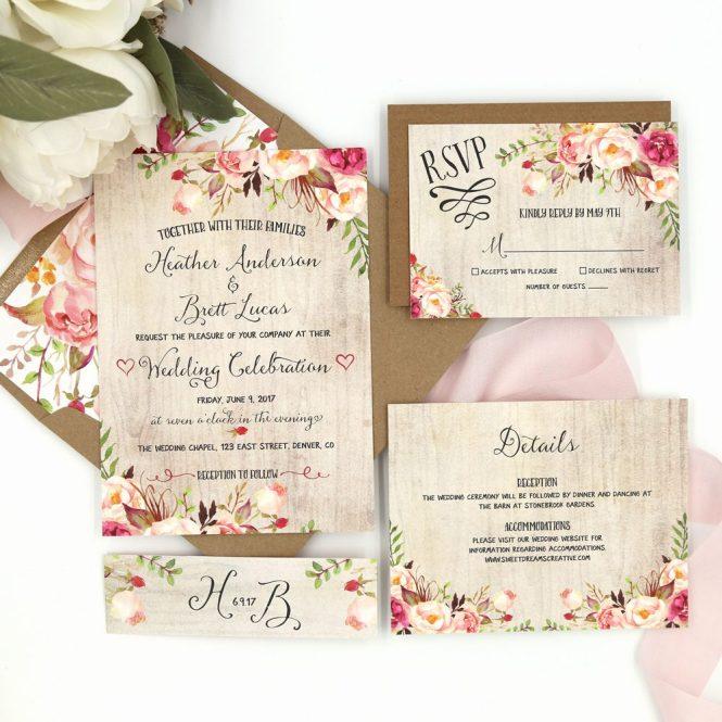 Rustic Garden Riley Wedding Invitation