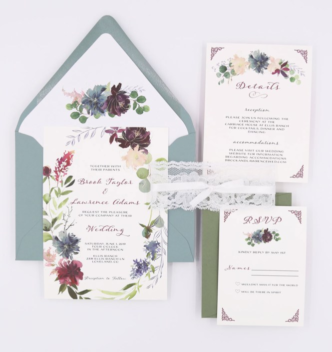 Dusty Blue Wedding Invitations The Brook Suite Sweet Dreams Creative
