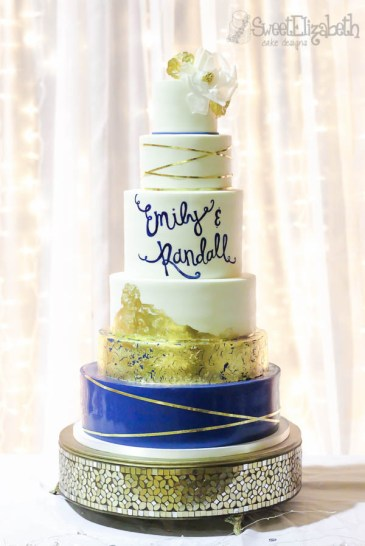 Wedding Cake with edible gold leaf and hand-painted name