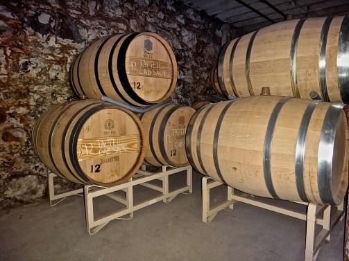 Basalt walls in the cellar barrel rooms.
