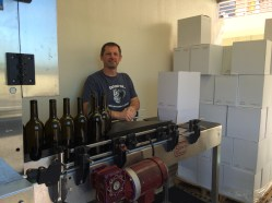 Dave relaxing at the beginning of the bottling line.