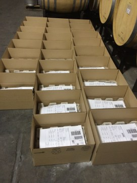 Boxes ready for Fall wine club shipment.