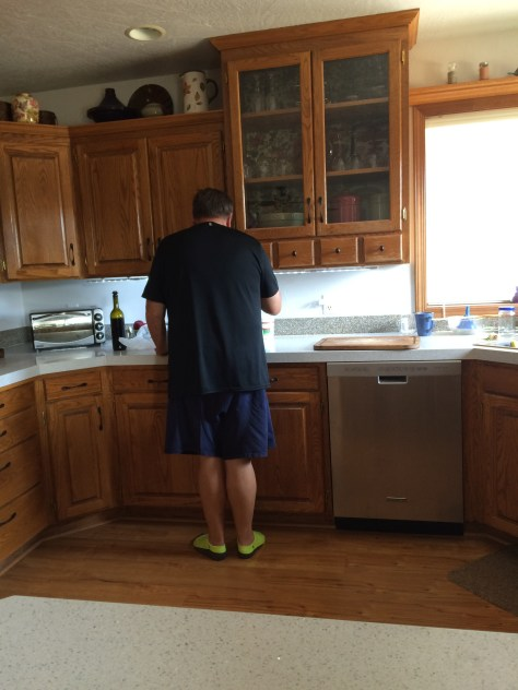 Hubby making sure the pasta sauce is just right since I shouldn't even taste it.
