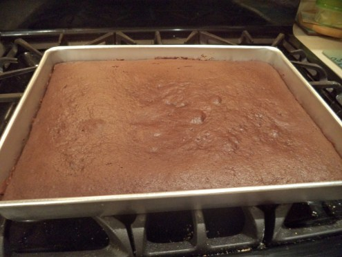 Baked up in Rectangular Pan ready to Ice