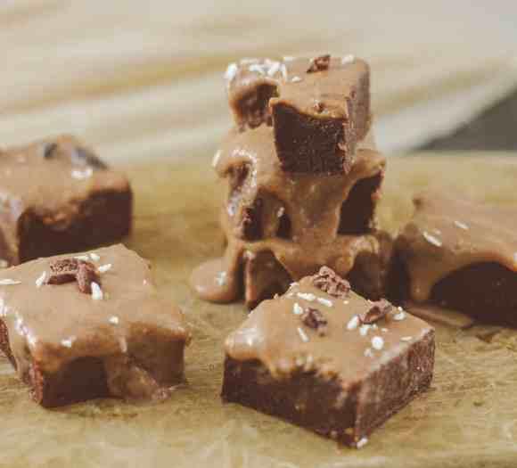 Raw Vegan Chocolate Brownies with Tahini Miso Icing