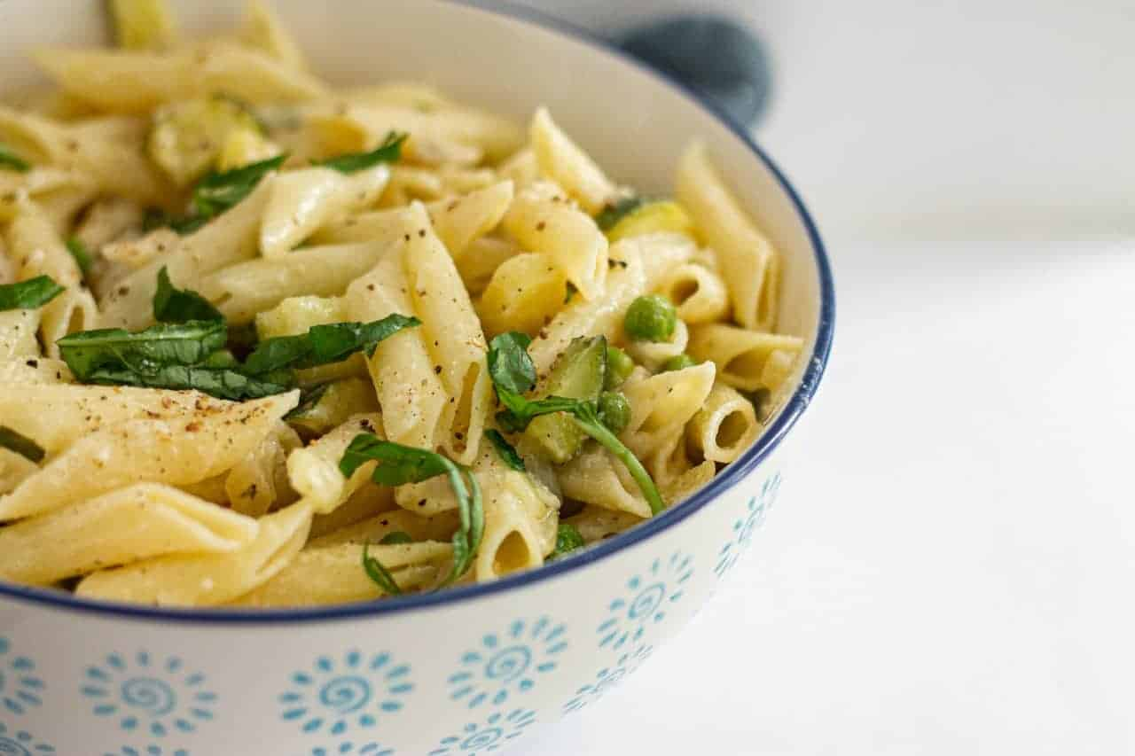 Penne with Zucchini Peas and Vegan Cheese Recipe
