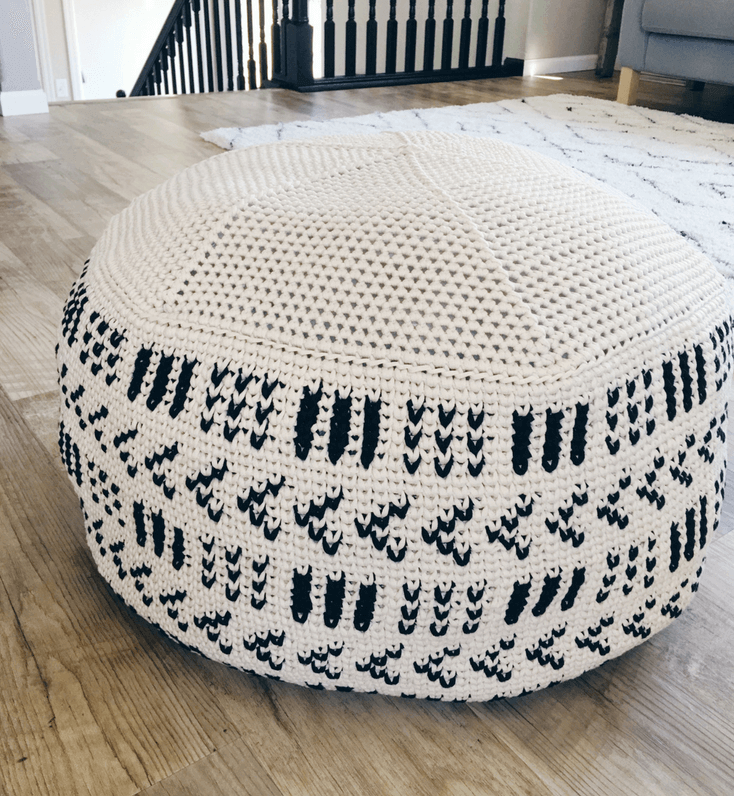 A Giant Crochet Pouf Pattern That Will Add A Cozy Feel To