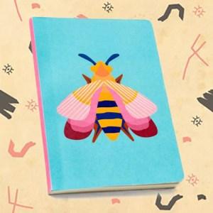 Petit carnet imprimé abeille rose