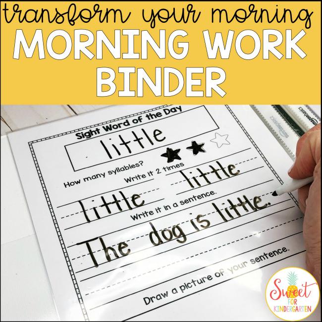Transform Your Morning Routine- Morning Work Binder Sweet For Kindergarten