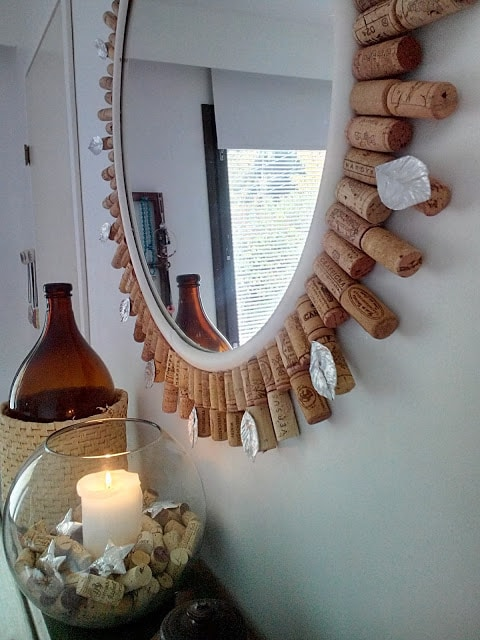 DIY Wine cork mirror frame - People's Choice Feature at Sweet Inspiration Link Party