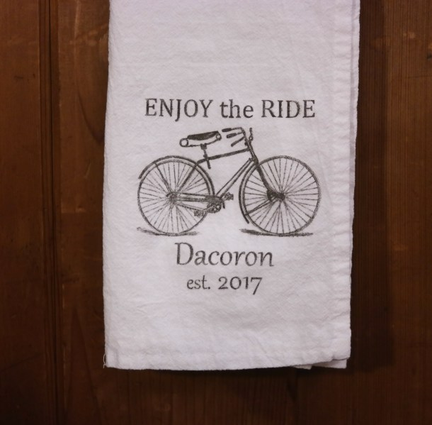 Personalized Enjoy the Ride Tea Towel
