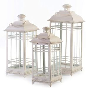 3 large white lanterns