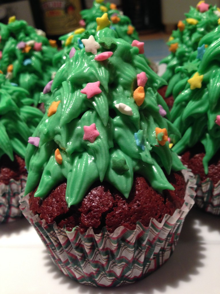 Christmas Tree Brownie Cupcakes