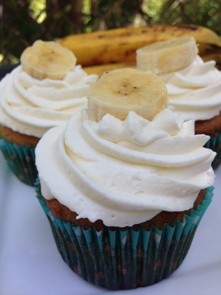Banana Cupcakes with Whipcream Icing