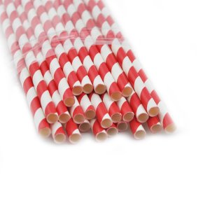 Striped Colored Straws Red