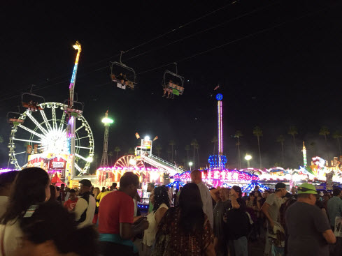 LA County Fair Lights of Ferris Wheel at Night