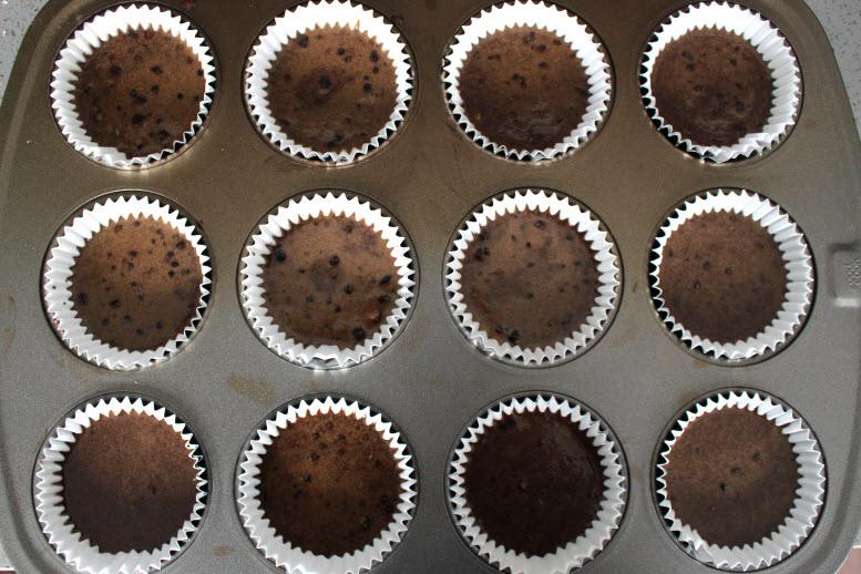 Chocolate Cupcake Batter in Cupcake Liners