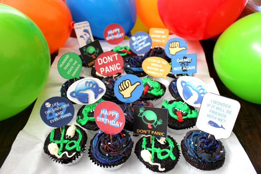 Hitchhiker's Guide to the Galaxy Themed Cupcakes
