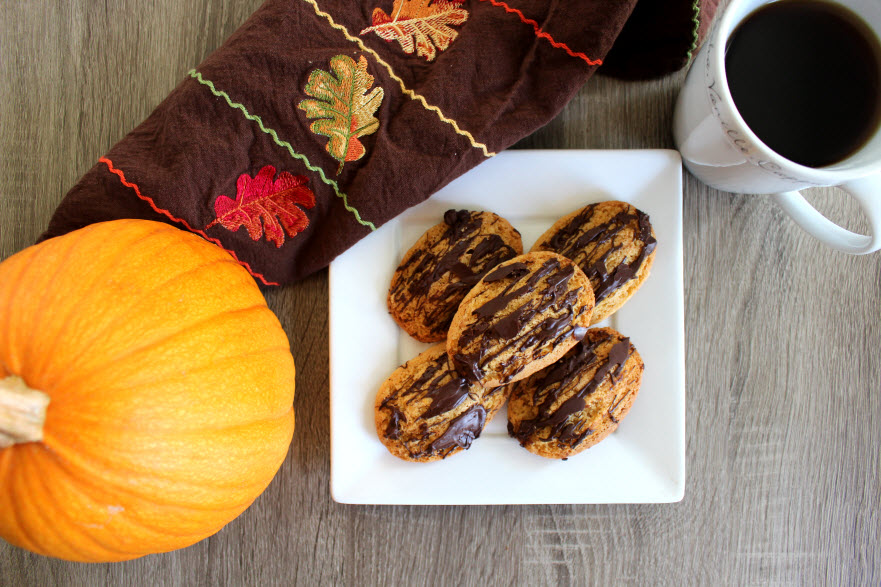 Chocolate Pumpkin Pie Spiced Madeline Cookies made with Trader Joes Pumpkin Pancake Mix