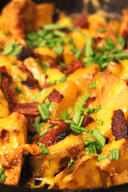 Baked Chicken and Potatoes with Cheese and Bacon
