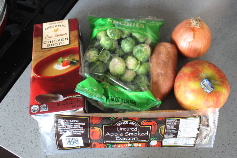 Trader Joe's ingredients chicken stock, apple smoked bacon, Brussels Sprouts