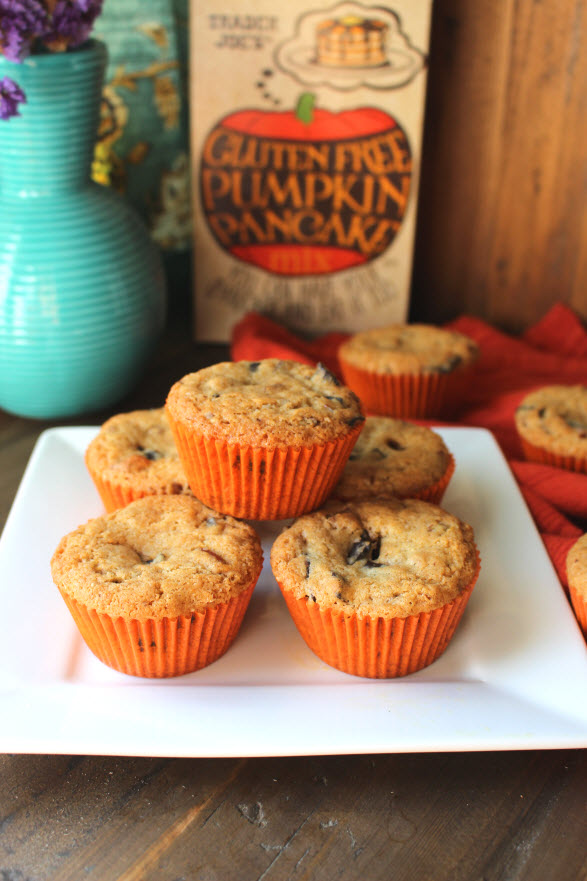 Pecan Chocolate Chip Pumpkin Muffins made with Pumpkin Pancake Mix and Flour