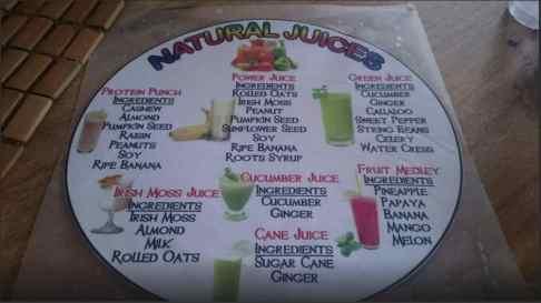 Juice Menu Calabash Ital Rastarant