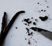 Scrape vanilla seeds into bowl