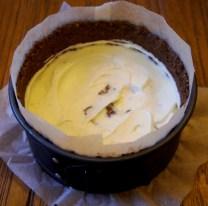 Pour half of cheese mixture into tin