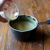 Stir gelatine to warm cream mix