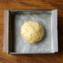 Place the dough into the tin