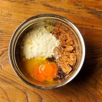 Add butter+sugar+almonds+melted choc+yolks