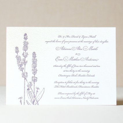 Lavender Wedding Invitation 4 00 Sweet Letterpress