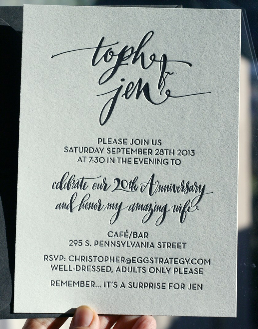 Modern Black And White Letterpress Invitation With Custom Calligraphy