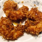 Coconut Shrimp  –  Cornmeal Crusted Shrimp – Sweet Goat Cheese Grape Fritters