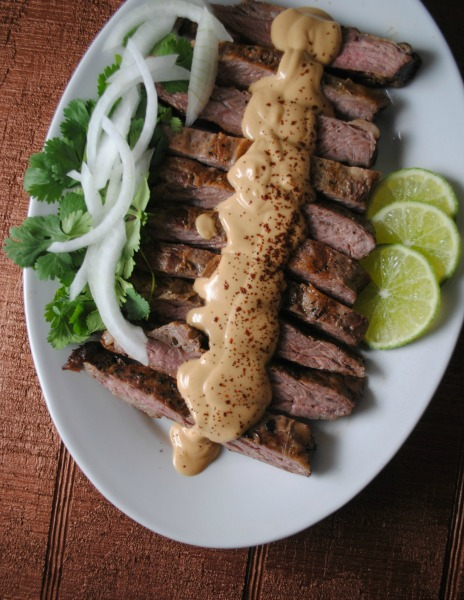 Fajitas with Peanut Butter Ancho Sauce