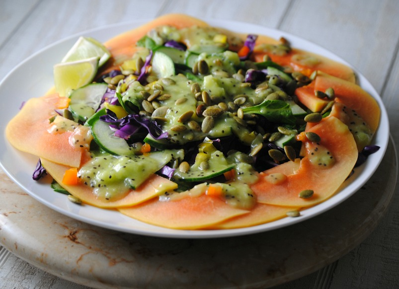 Papaya Salad with Kiwi Lime Dressing recipe from sweetlifebake.com