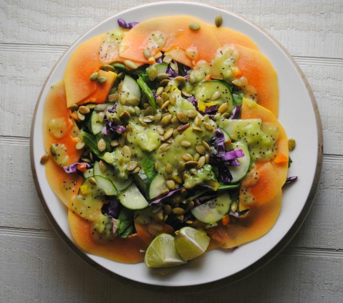 Papaya Salad with Kiwi Lime Dressing sweetlifebake.com