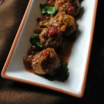 Sausage Balls with Cranberry-Green Chile Sauce