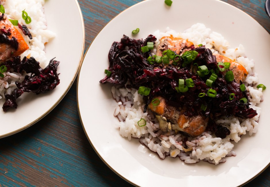 Baked Salmon with Hibiscus Salsa