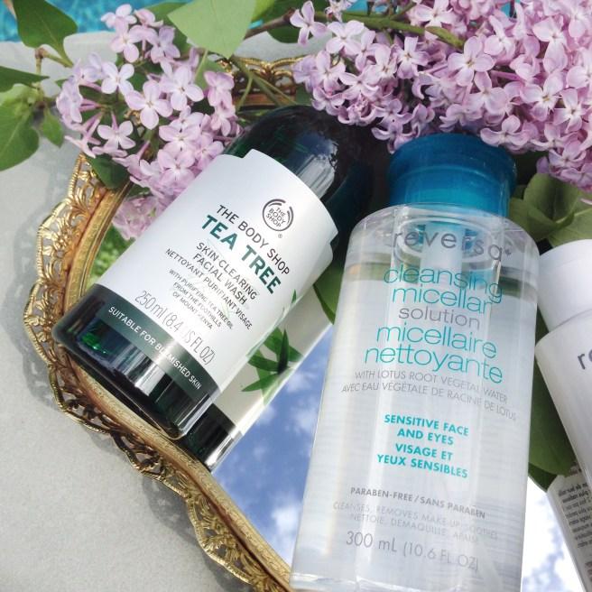 Body Shop Tea Tree Skin Clearing Facial Wash, Reversa Cleansing Micellar Solution