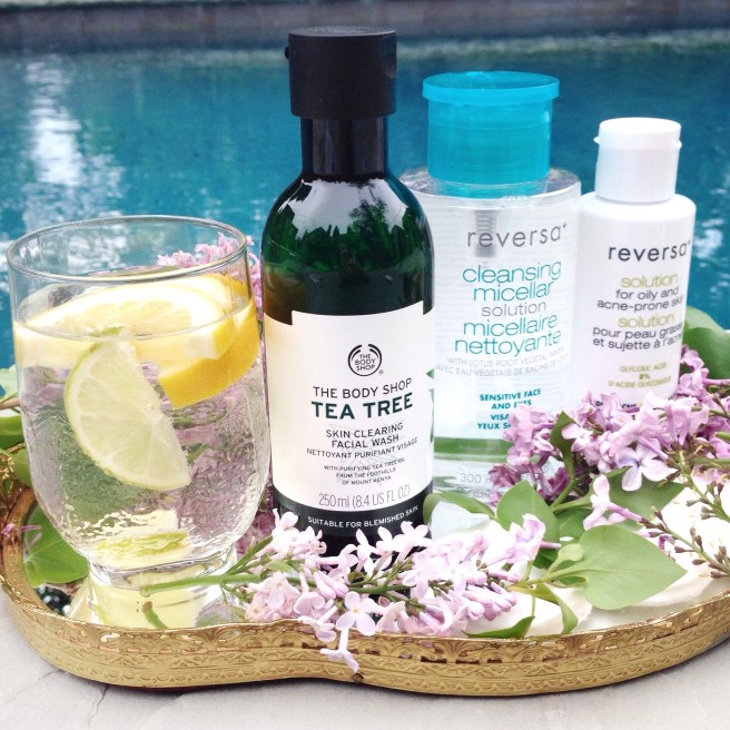 Body Shop Tea Tree Skin Clearing Facial Wash, Reversa Cleansing Micellar Solution, Reversa Solution for Oily and Acne Prone Skin