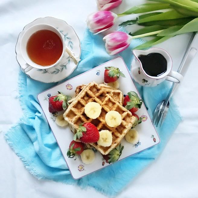 Strawberry Banana Oatmeal Waffles