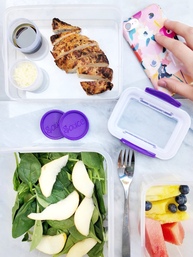 Spinach & Chicken Salad in a Locksy Bento Box