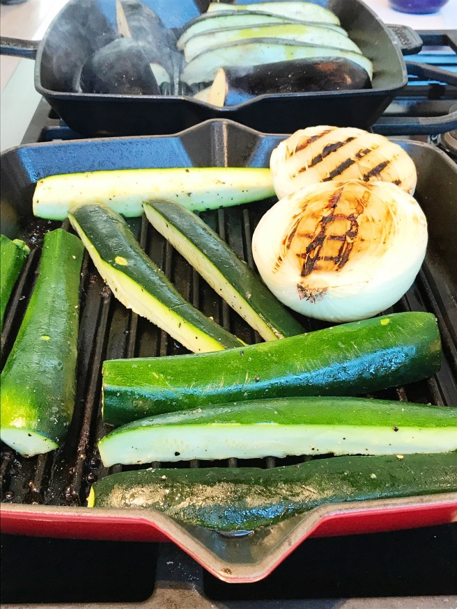Grilling vegetables on a Staub cast iron grill pan