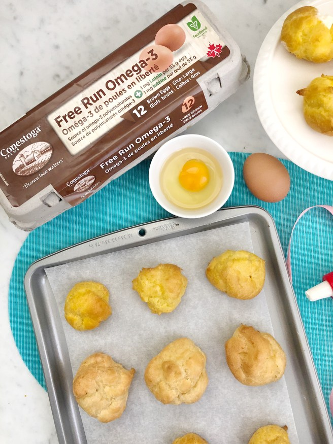 Homemade Cream Puffs Using Conestoga Farms Free Run Omega-3 Brown Eggs