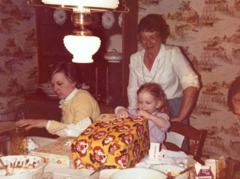 My Nana and Aunt Dort, helping me open this amazing gift.  Who chose that terrifying wrapping paper?!